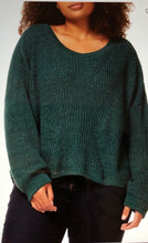Emerald scoop neck split back sweater