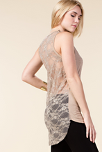 Solid front, back lace tank