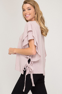 Flounce knit top with side detail