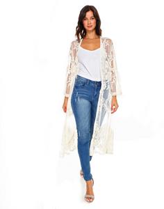 Designer lace duster-cream