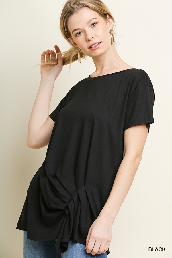Basic short sleeve with gathered tuck front