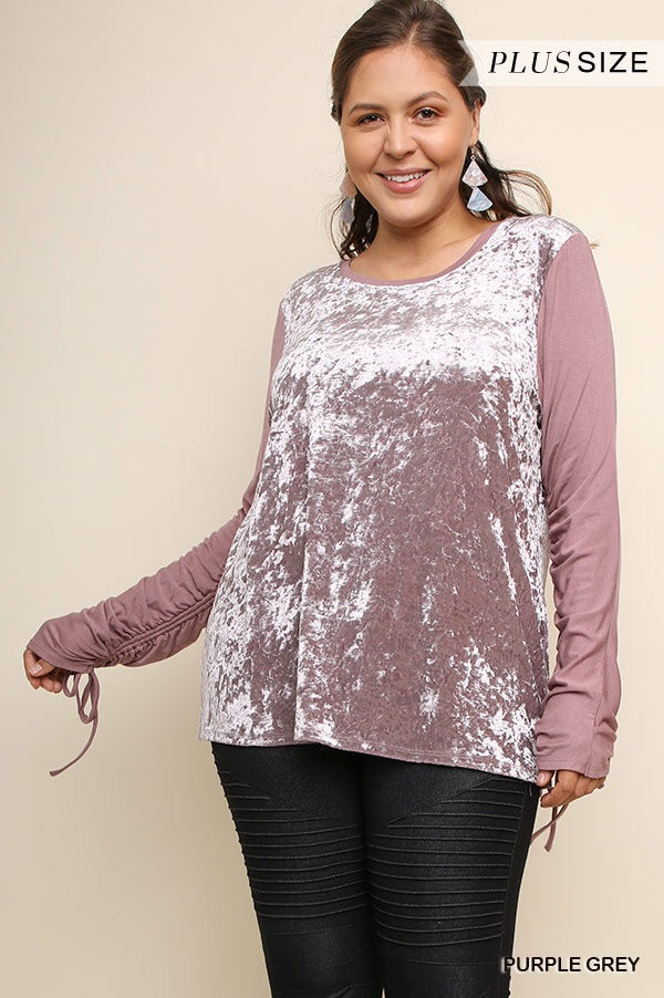 Velvet top with contrast sleeve