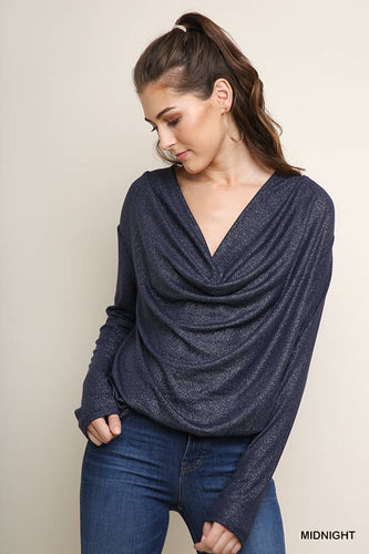 Long sleeve lurex fabric with draped front