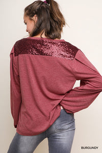 Sequin accent burgundy long sleeve top