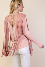 Suede fringe top with v-back