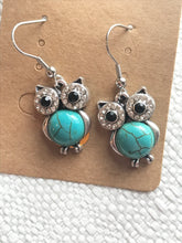 Teal owl earrings