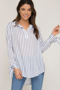 Striped woven top with sleeve ties