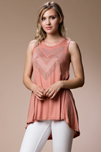 Gorgeous stone accented sleeveless flowy tunic