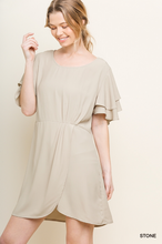 Tulip hem pin tuck dress