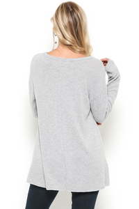 Loose fit casual tunic with front diagonal cut