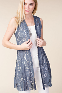 Lace vest with stone