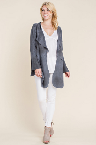 Brushed suede jacket with lace up back-ALL SIZES