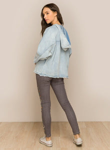 Long sleeve denim hoodie with distressing