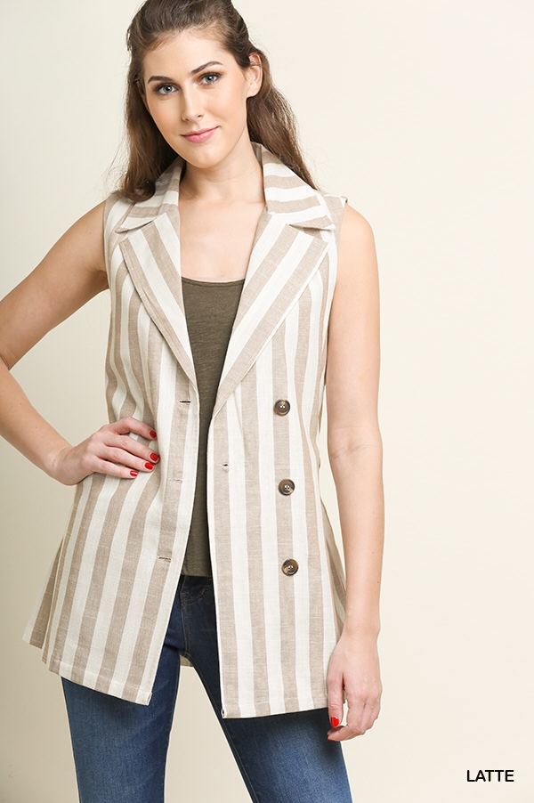Button front collared vest with waist tie and pockets