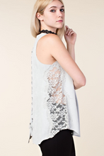 Suede tank top with lace back