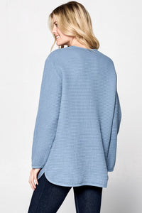 Dusty blue woven tunic with button detail