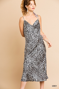 Animal print satin slip dress