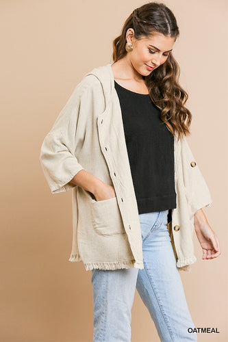 Linen hooded jacket with pockets - ALL SIZES