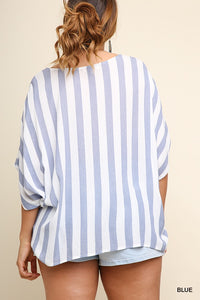Striped dolman sleeve top with front knot - CURVY