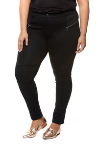 High waist pant with faux front pocket - CURVY