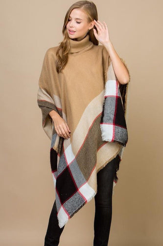Burberry inspired turtle neck poncho-long