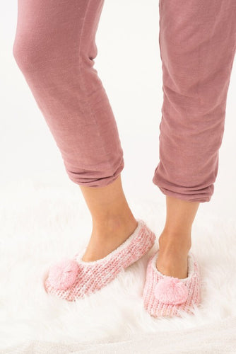 Pink slippers with Pom Pom