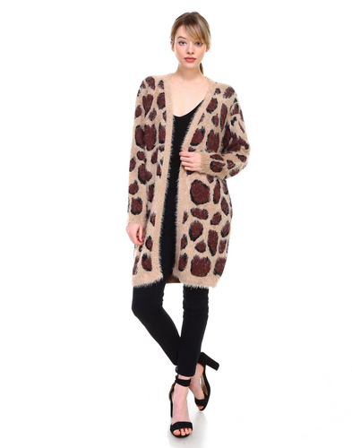 Cashmere blend animal print cardigan