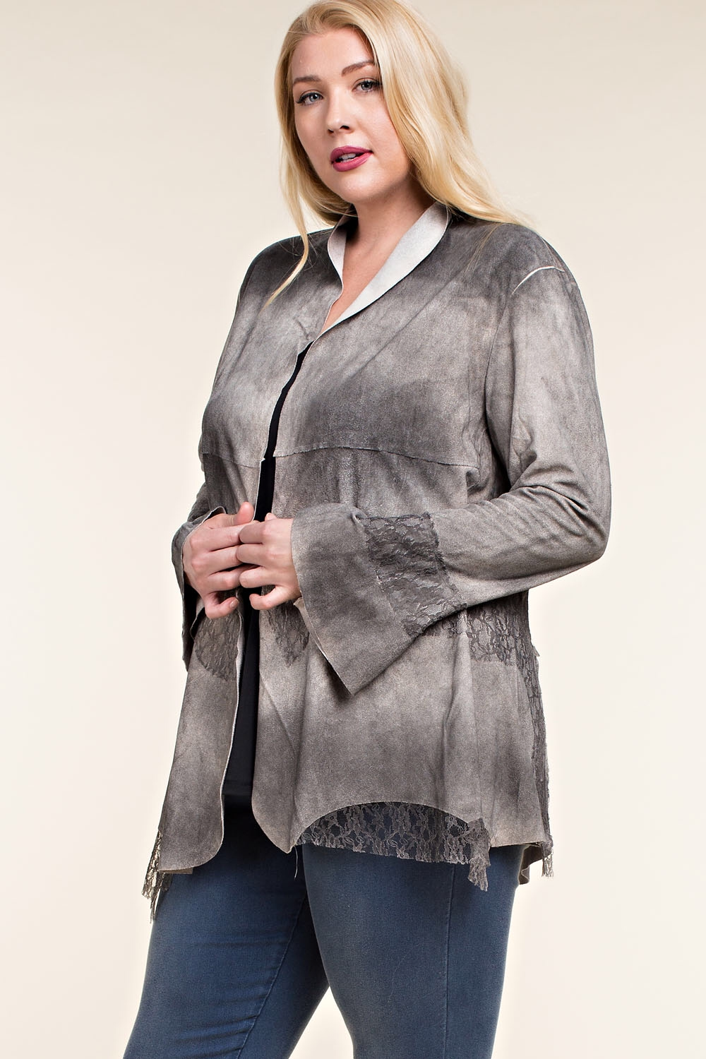 Brushed suede jacket with lace detail-ALL SIZES