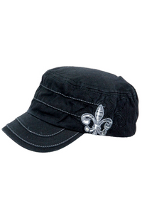 Black military cap with checker flower