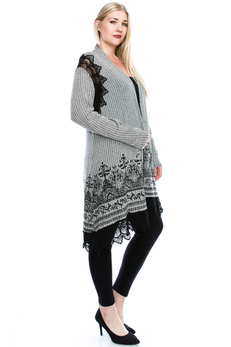Long cardigan with black lace trim-CURVY