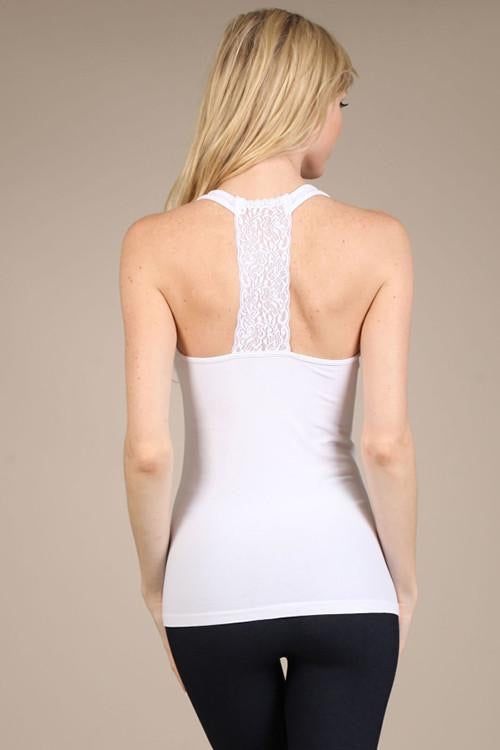Scoop Neck Cami with Back Lace Panel - ONE SIZE MISSY