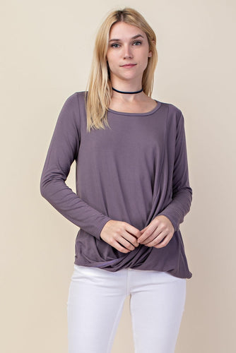 Long sleeve wrap top-available in purple or black