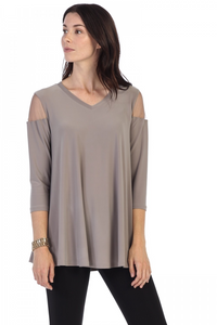 V-neck mesh cut out top-steel grey