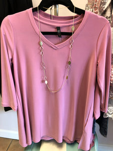 Rose color v-neck tunic-no wrinkle