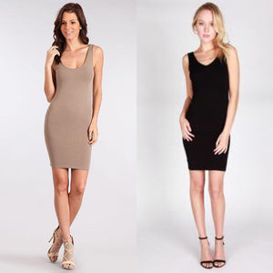 V-neck/Scoop neck reversible tank dress - Missy size