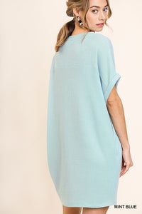 Cap sleeve dress with pockets