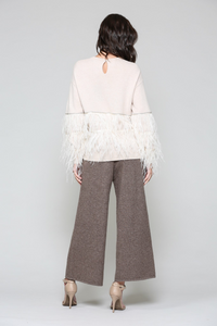 Cashmere top with feather fringe-designer