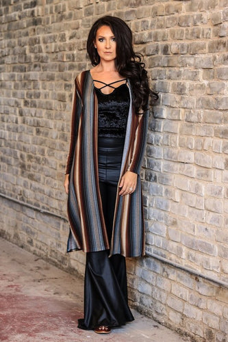 Striped long duster-CURVY
