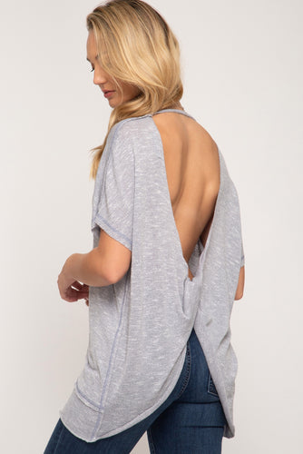Sexy open back knit top with front twist