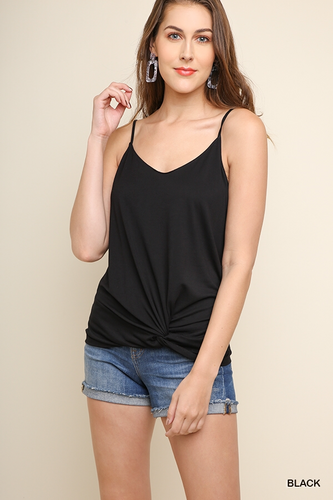Black tank with gathered front knot
