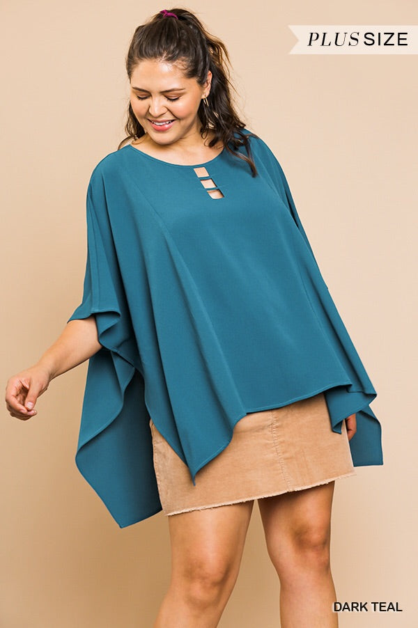 Dolman sleeve top with cutout neck detail - CURVY