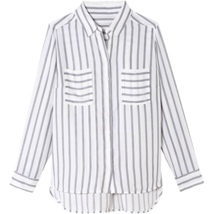 Long sleeve distress stripe button front top - CURVY