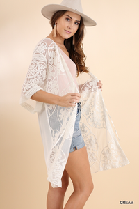 Floral medallion lace kimono (washed back)