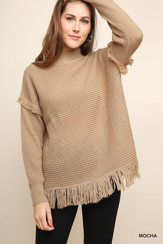 Waffle knit sweater with fringe detail