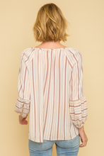 Peasant top-beige mix with blue/orange/yellow stripes