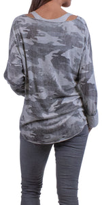 Designer Camo Print Top with Cami