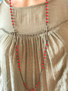 Red beaded metal cross necklace