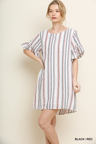 Striped lined dress with pockets