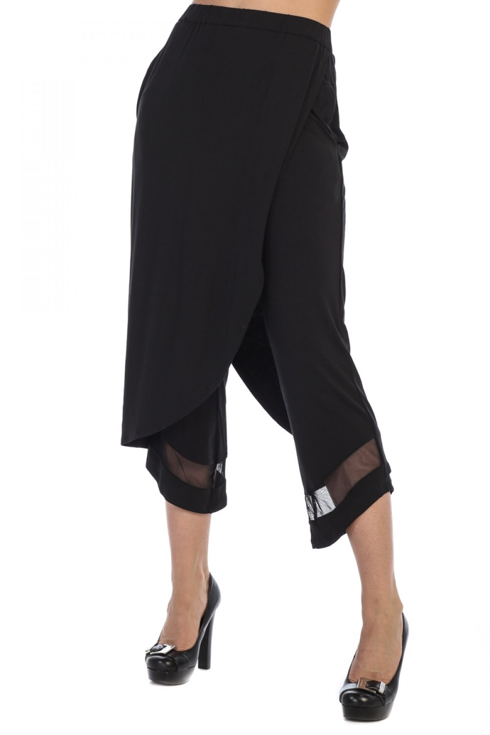 Cropped pants with layered mesh detail
