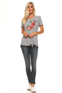 Navy/white rose top by JOH